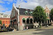Historic former market building, Torget market square area of Vagen harbour, Bergen, Norway