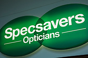 Sign for the opticians brand Specsavers in Birmingham, United Kingdom.