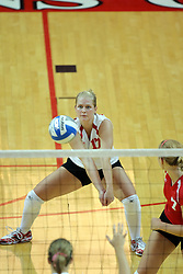 25 AUG 2007: Redhawk libero Melissa Zenz prepares to receive the ball. By a score of 3 games to 1,  Illinois State University Redbirds defeated the Redhawks of Miami of Ohio at Redbird Arena on the campus of Illinois State University in Normal Illinois.