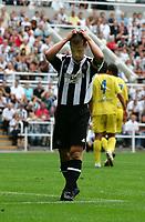 Photo: Andrew Unwin.<br /> Newcastle United v Villarreal. Pre Season Friendly. 05/08/2006.<br /> Newcastle's Scott Parker rues a missed opportunity.