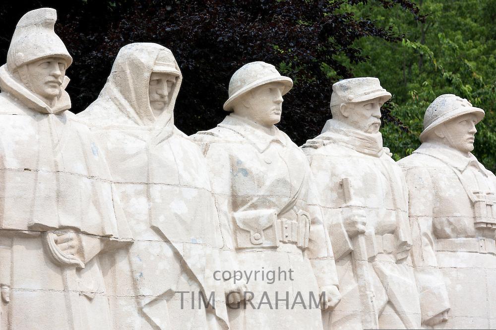 World War One Monument to the Sons of Verdun in Verdun, France - 'On Ne Passe Pas' - cavalryman, territorial, infantryman, colonial soldier, artilleryman