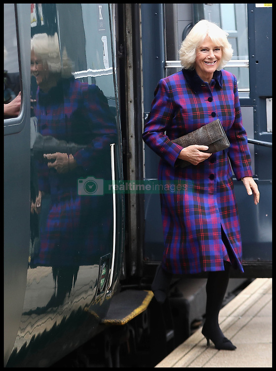 Image ©Licensed to i-Images Picture Agency. 20/10/2016. London, United Kingdom. Duchess of Cornwall visits Swindon Railway. <br /> <br /> Camilla, Duchess of Cornwall visits Swindon Railway Station to name Sir Daniel Gooch Place on October 20, 2016 in Swindon, England.<br /> <br /> Picture by  i-Images / Pool