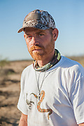 TUCSON, AZ - Lewis Arthur, the founder of Veterans on Patrol, an organization that provides shelter and resources to homeless veterans in Tucson, Arizona, stands outside a camp which he started in early June in an effort to fight what he believes is the trafficking of migrant women and children for sex in the Tucson, June 20, 2018.