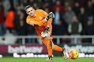 Goalkeeper Jack Butland of Stoke City in action. Barclays Premier league match, West Ham Utd v Stoke city at the Boleyn Ground, Upton Park  in London on Saturday 12th December 2015.<br /> pic by John Patrick Fletcher, Andrew Orchard sports photography.