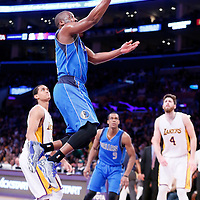 12 April 2014: Dallas Mavericks guard Raymond Felton (2) goes for the layup during the Dallas Mavericks 120-106 victory over the Los Angeles Lakers, at the Staples Center, Los Angeles, California, USA.