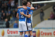 GOAL Joe Rafferty and Ian Henderson celebrate 2-0 during the EFL Sky Bet League 1 match between Rochdale and Gillingham at Spotland, Rochdale, England on 23 September 2017. Photo by Daniel Youngs.