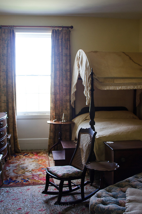 Bedroom at the Woodlawn Museum, Ellsworth, Maine.