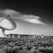 Cal Tech Radio Telescopes At Dusk - North Owens Valley - Black & White