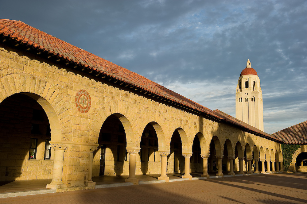 Stanford University, view from the Quad, Hoover Tower.
