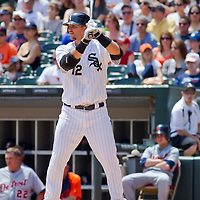 Chicago, IL - June 05, 2011:  Chicago White Sox player, A.J. Pierzynski (12) bats against the Detroit Tigers at U.S. Cellular Field on June 5, 2011 in Chicago, IL.
