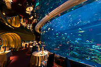 The underwater themed Al Mahara Restaurant in the Burj al Arab Hotel, Dubai, United Arab Emirates