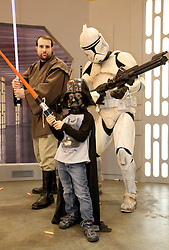 29 Jan 2012. New Orleans, Louisiana USA. <br /> Ben Varley (5 yrs) with Star Wars and comic book characters gather at the Wizard World New Orleans Comic Con at the Ernest N Morial Convention Center. <br /> Photo; Charlie Varley/varleypix.com