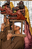 Lions at Mengake Kamakura Procession - Mengake or Masked Parade at Goryo Jinja shrine.  At this festival held in September a group of ten people take part in this annual ritual: 8 men and 2 women. Wearing comical or grotesque masks that signify different demons, legends and dieties  leave the shrine and parade through the nearby streets accompanied by portable shrine and festival music.