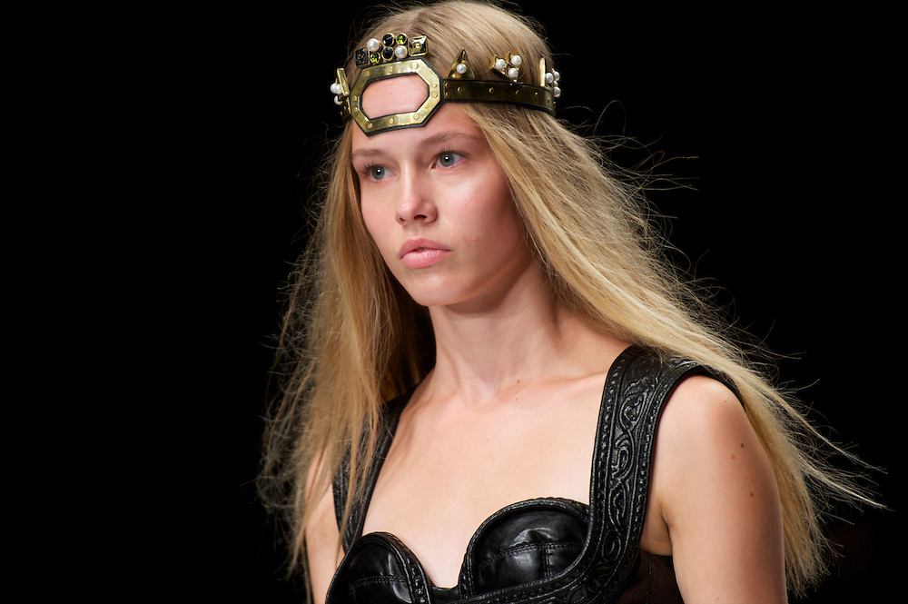 Models show the KTZ spring 2011 collection in the BFC show space at Somerset House, London on 22  September 2010.