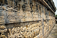Borobudor Bas Relief - Borobudur is a ninth century Mahayana Buddhist made up of six platforms and decorated with more than 2000 bas-relief panels and 500 Buddha statues. The main dome at the center of the top platform is surrounded by 72 Buddha statues seated among perforated stupas. The monument is both a shrine to the Lord Buddha and a place for Buddhist pilgrimage.