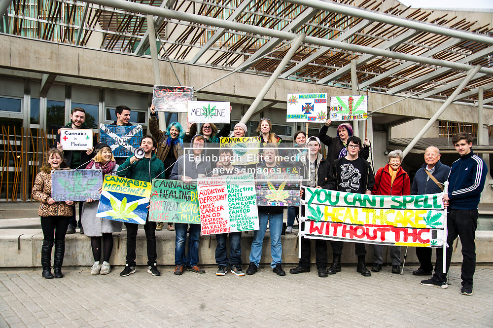 Pictured: <br /> Protesters gathered outside the Scottish Parliament while they waited on colleagues in meeting with MSPs and health car professionals who were putting forward the case to legalise medicinal cannabis.  Most had first hand experience of the benefits of using the drug under medical supervision.<br /> <br /> <br /> Ger Harley   EEm Date