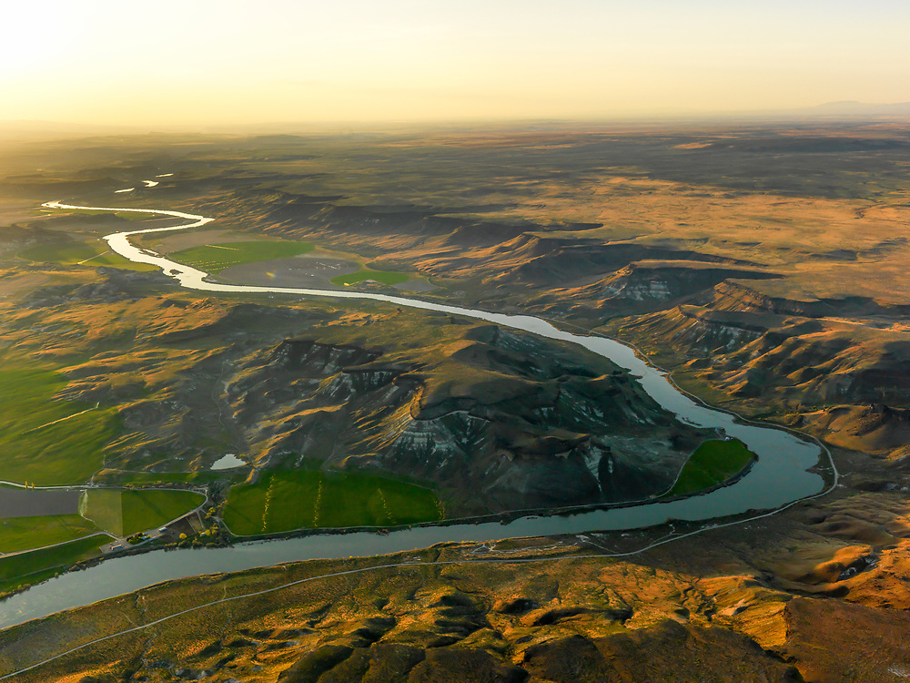 Open Edition Print<br /> Snake River Aerial view in Springtime near Boise Idaho in the last evening light