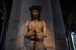 May 5, 2018 - Lille, France - A statue of Jesus Christ is pictured inside St. Maurice cathedral in Lille, Northern France on May 5, 2018. Lille is a city at the northern tip of France, in French Flanders. On the Deûle River, near France's border with Belgium, it is the capital of the Hauts-de-France region and the prefecture of the Nord department. (Credit Image: © Alberto Pezzali/NurPhoto via ZUMA Press)