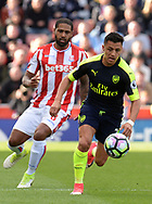 Alexis Sanchez of Arsenal in action. Premier league match, Stoke City v Arsenal at the Bet365 Stadium in Stoke on Trent, Staffs on Saturday 13th May 2017.<br /> pic by Bradley Collyer, Andrew Orchard sports photography.