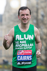 © Licensed to London News Pictures. 25/03/2015. London, England. Pictured: Alun Cairns MP. Five Members of Parliament: Richard Drax, Conservative MP for South Dorset, Alun Cairns, Conservative MP for Vale of Glamorgan, Dan Jarvis, Labour's Shadow Justice Minister, Graham Evans, Conservative MP for Weaver Vale and Edward Timpson, Conservative Party's Minister for Children and Families will take time off from the General Election race to run the 2015 Virgin Money London Marathon on Sunday 26 April. Parliament dissolves on 30 March 2015, meaning all five will officially run as members of the public rather than MPs, before returning to the campaign trail to try to win back their seats in the General Election on 7 May.  Photo credit: Bettina Strenske/LNP