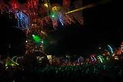 Glastonbury Festival on June 27th 2019 in Glastonbury, Somerset, United Kingdom. The Greenpeace Tree of Plastic and dance flooor. The festival has been going for decades and this year the sun is beating down promising a dry weekend.