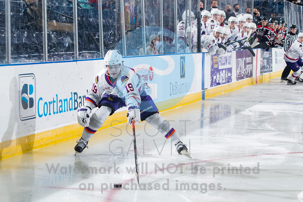 The Youngstown Phantoms defeat the Chicago Steel 5-2 at the Covelli Centre on January 23, 2021.<br /> <br /> Ben Schoen, forward, 19