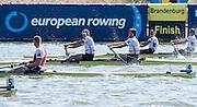 Brandenburg. GERMANY. Silver medalist Men's Pair, Bow, Alan SINCLAIR and Stewart INNES, awards dock,<br /> 2016 European Rowing Championships at the Regattastrecke Beetzsee<br /> <br /> Sunday  08/05/2016<br /> <br /> [Mandatory Credit; Peter SPURRIER/Intersport-images]