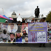 Victims of white , black and Asian the United Families and Friends Campaign (UFFC) 20th Anniversary Procession march to Downing Street demand ask demand justice for their love one killed by polices on 27 October 2018, London, UK.