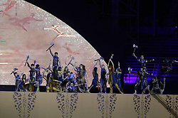 ALGIERS, July 19, 2018  Photo taken on July 18, 2018 shows the opening ceremony of the 3rd African Youth Games in Algiers, Algeria. Some 3,300 athletes from 54 African countries and regions will compete in 30 sports until July 28. (Credit Image: © Xinhua via ZUMA Wire)