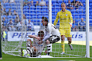 Matt Smith of Fulham © celebrates with Ross McCormack after he scores his teams 1st goal. Skybet football league championship match, Cardiff city v Fulham at the Cardiff city stadium in Cardiff, South Wales on Saturday 8th August  2015.<br /> pic by Andrew Orchard, Andrew Orchard sports photography.