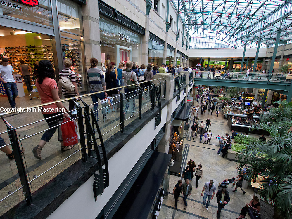 Interior of atrium in Centro one of Europe's largest shopping mall in Oberhausen Germany