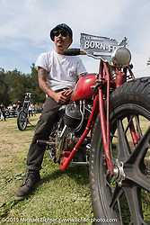 Brat Style's Go Takamine with his builder award at Born Free-7 at Oak Canyon Ranch. Silverado, CA. USA. Sunday, June 28, 2015.  Photography ©2015 Michael Lichter.