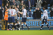 Millwall striker Steve Morison (20) celebrating scoring 1-0 during the The FA Cup 3rd round match between Millwall and Bournemouth at The Den, London, England on 7 January 2017. Photo by Matthew Redman.