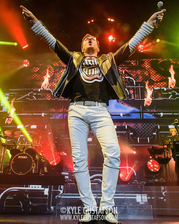 Simon Le Bon of Duran Duran performs at the Verizon Center as part of their Paper Gods tour.