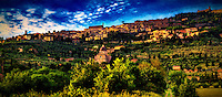 """Evening fog rolling down the hill of Cortona - Oil painting""…<br />