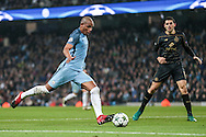Fernando (Manchester City) takes a shot during the Champions League match between Manchester City and Celtic at the Etihad Stadium, Manchester, England on 6 December 2016. Photo by Mark P Doherty.