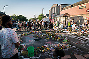 A neighborhood gathering near the site of George Floyd's death in Minneapolis, Minnesota on Monday, June 1, 2020.