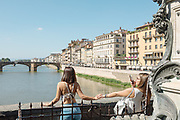 FLORENCE: view from Ponte Vecchio to POnte Santa Trinità on Arno river