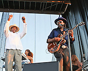 """WASHINGTON, DC -  August 15th, 2009 -  """"Godfather of Go-Go"""" Chuck Brown (R) is joined onstage by """"Mayor For Life"""" Marion Barry (L) at the Stone Soul Picnic at RFK Stadium in Washington, D.C. (Photo by Kyle Gustafson)"""