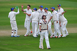 Dejection for Somerset's Josh Davey after being dismissed by New Zealand's Doug Bracewell for 5. Photo mandatory by-line: Harry Trump/JMP - Mobile: 07966 386802 - 11/05/15 - SPORT - CRICKET - Somerset v New Zealand - Day 4 - The County Ground, Taunton, England.