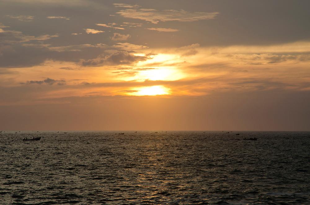 Sunset over Arabian sea, Kovalam, South India