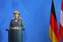 15.09.2015, Bundeskanzleramt, Berlin, GER, Flüchtlingskrise in der EU, Gipfeltreffen Deutschland und Oesterreich, im Bild Bundeskanzlerin Angela Merkel (CDU) // attend a joint press conference following talks about the refugee crisis at the Bundeskanzleramt in Berlin, Germany on 2015/09/15. EXPA Pictures © 2015, PhotoCredit: EXPA/ Eibner-Pressefoto/ Hundt<br /> <br /> *****ATTENTION - OUT of GER*****