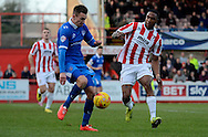 Jed Wallace clears the ball during the Sky Bet League 2 match between Cheltenham Town and Portsmouth at Whaddon Road, Cheltenham, England on 20 December 2014. Photo by Alan Franklin.