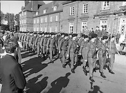 50th Infantry Batallion Depart for Lebanon.   (N97)..1981..15.10.1981..10.15.1981..15th October 1981..Before departure to Lebanon, the 50th Infantry Batallion was inspected by An Taoiseach, Dr Garret Fitzgerald, he was accompanied by the Minister for Defence, Mr James Tully TD...Picture shows the troops parading before the reviewing group of: An Taoiseach Dr Garret Fitzgerald, Mr James Tully,Minister for Defence Lieut-Gen Louis Hogan,Chief of Staff and Maj-General Gerald O'Sullivan G.O.C.Eastern Command.