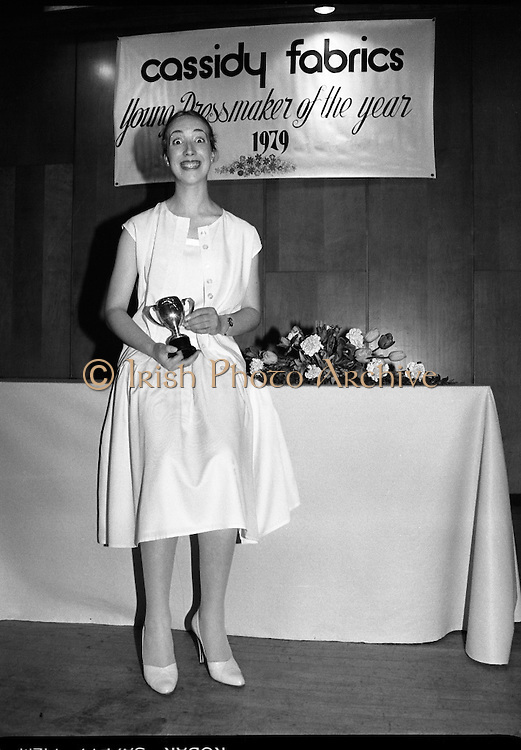 Young Dress Designer of the Year.     (M75).1979..22.05.1979..05.22.1979..22nd May 1979..The Cassidy Fabrics sponsored Young Dress Designer of the Year, make and model competition was held today in Liberty Hall,Dublin. The overall winner of the competition was Ms Marianne Byrne (15),Cabinteely,Co Dublin. Ms Byrne is a pupil at the Cabinteely Community School...A portrait of Ms Marianne Byrne the overall winner of the Young Dress Designer of the Year,make and model competition.(Sponsored by Cassidy Fabrics).