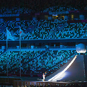 TOKYO, JAPAN  July/August: Photo Essay by Tim Clayton<br /> <br /> The Opening Ceremony, Olympic Stadium. 1/16<br /> <br /> If the athletes are the heart of any sporting event, the soul are the spectators.Sadly, due to covid 19 restrictions spectators were banned from viewing live what has now become 'the greatest sporting show on earth' The Olympic Games. The cavernous stadiums, many of exceptional quality were left to the whispers of Olympic triumphs past, spirits and history breezing through the empty stands in an attempt to muster up a trace of emotion. The athletes performed, it was no dress rehearsal, but a calling from within to follow that Olympic spirit of faster, higher, stronger and challenge themselves on the ultimate world stage, without the support of their soul mate, the fan.The Olympic Games Tokyo 2020 were like no other… Tokyo, Japan. July August 2021 (Photo by Tim Clayton/Corbis via Getty Images)