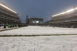 A General View of Lincoln Financial Field from field level after a snow storm during the NFL game between the Detroit Lions and the Philadelphia Eagles on Sunday, December 8th 2013 in Philadelphia. The Eagles won 34-20. (Photo by Brian Garfinkel)