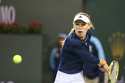 March 9, 2019 - Indian Wells, CA, U.S. - INDIAN WELLS, CA - MARCH 09: Caroline Wozniacki (DEN) hits a backhand during the BNP Paribas Open on March 9, 2019 at Indian Wells Tennis Garden in Indian Wells, CA. (Photo by George Walker/Icon Sportswire) (Credit Image: © George Walker/Icon SMI via ZUMA Press)