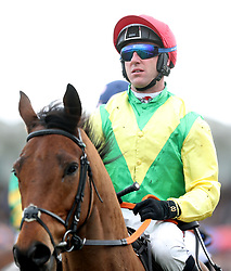 Jockey Robbie Power on Beyond Law prior to the Albert Bartlett Novices' Hurdle during Gold Cup Day of the 2018 Cheltenham Festival at Cheltenham Racecourse.