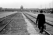 Walk to freedom. A former Auschwitz prisoner is walking towards the main gate during the 50th anniversary ceremony of the concentration camp liberation by the Russian Army which was held in Auschwitz I in 1995. About a thousand ex-prisoners attended it.